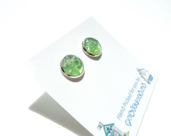 Sea Glass earrings of Bright Green 10mm rockpools  E1714 - from Seaham,  UK