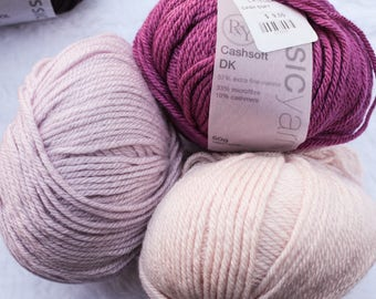 DK Merino Wool Cashmere Yarn made in Italy in pinks, gray and beige by RY Classic Yarns Cash Soft