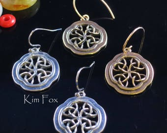 Celtic Window Earrings in Sterling Silver or Golden Bronze with Gold Filled Ear Wires designed by Kim Fox