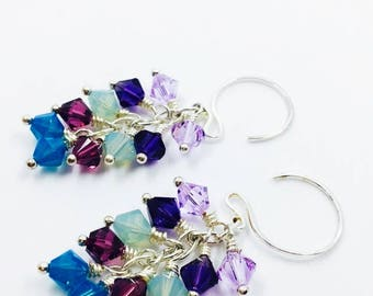 Multi-colored crystal earrings, Swarovski bicones, sterling silver, cluster, gift for her, rainbow, under 30