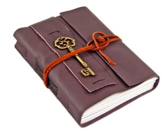 Brown Leather Journal with Blank Paper and Key Charm - Handmade Journal - Bound - Diary - Travel Journal -Ready to Ship - Prayer Journal