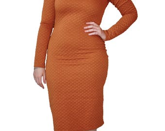 Soft Quilted Mustard Stretch Fitted Cotton Spandex Dress with Long Sleeves