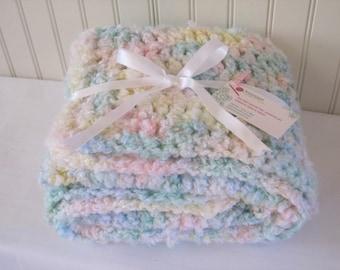 Baby Blanket - Crochet Baby Blanket - Toddler Blanket - Pastel Baby Blanket - Pastel Blanket - Nubby Baby Blanket - Baby Shower Gift