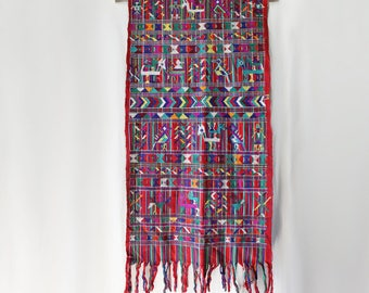Guatemalan Embroidered Tapestry // Backstrap Weaving // Tablecloth, Rug, Wall Hanging