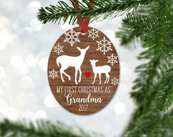 Personalized First Christmas as Grandma Ornament, Keepsake Ornament, Grandmother 1st Christmas, Faux Wood, Christmas Gift (056)