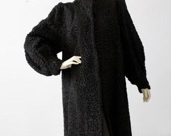 vintage Persian lamb fur coat, black curly lamb fur coat