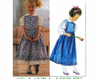 """Girl's Laura Ashley Dress Sewing Pattern Children's Vintage 80s UNCUT Size 6 7 8 Chest 25-27"""" (64-69 cm) McCall's 4434"""