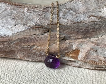 Amethyst Necklace in Gold or Silver