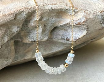 Rainbow Moonstone Bar Necklace in Gold or Silver