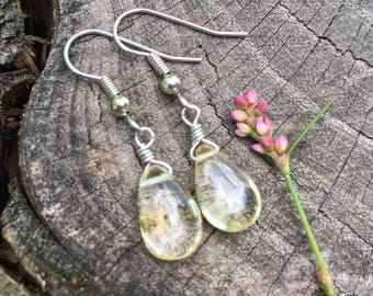 Citrine Gemstone Teardrops . Earrings