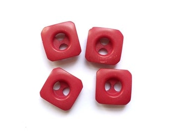 4 Red Square Plastic Buttons, 15mm