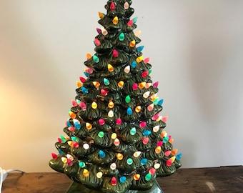 "Vintage 20"" Ceramic Christmas Tree Lighted Multi color lights Green"