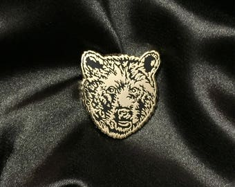 Bear Pin - Bear face Gold Pin - Animal Enamel Pin Lapel Pin Hard Enamel Pin Pin Game Pingame black gold grizzly bear black bear brown bear