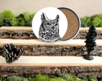 Owl Coaster Set - Horned Owl Home Decor - Gift for Animal Lover or Outdoorsman Guy Gift - Cork-Bottom Coaster Set