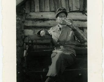 "Vintage Photo ""Vodka in the Morning"" Snapshot Antique Black & White Photograph Found Paper Ephemera Vernacular Interior Design Mood - 126"