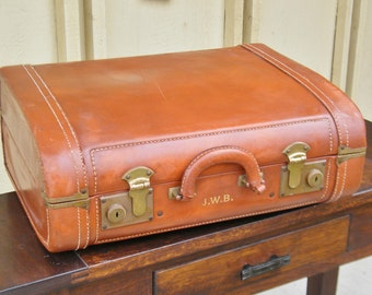Vintage Leather Suitcase - Leather Briefcase - Leather Luggage