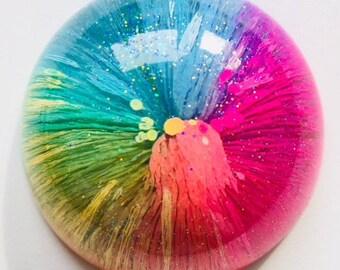 Resin Art, Fidget Art, hand held art piece, desk art, Rainbow Art, Glitter art, Art Fidget