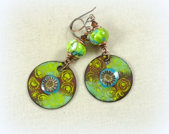 Kiwi Green, Brown and Turquoise Charm Earrings - Lime Green and Brown Earrings, Green Earrings, Artisan Boho Earrings, Brown and Green