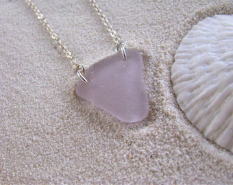 Purple Sea Glass Jewelry Purple Sea Glass Pendant Soft Lilac Beach Glass Necklace