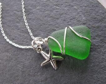 Green Starfish Sea Glass Jewelry Tiny Star Necklace Beach Glass