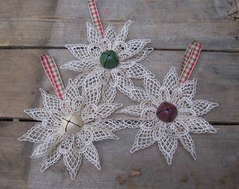 Primitive Beige Lace Snowflake, You Pick Center, Rustic Tree Ornament, Rustic Plaid Snowflake, Lace Tree Decoration