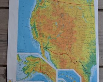 Western United States USA Vintage Map Alaska Hawaii