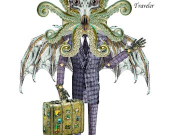 Cthulhu steampunk articulated paper doll gothic paper puppet H.P. Lovecraft inspired paper toy