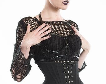 """Black Canvas Corset XS 21"""" for a 24-26"""" waist  -  silver eyelets (Artifice photoshoot sample)"""