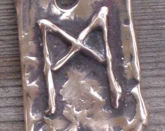 RUNES.Elder Futhark Bronze Rune Pendant of The Self MANNAZ.Rune Pendant.Organic Texture.Magical Rune.Magical Amulet.Viking Runes