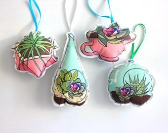 Terrariums Christmas ornaments: planters tree decorations- plant ornament set