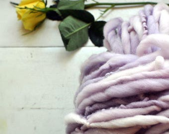 Yarn Handspun Bulky Thick n Thin Purple White Semi Solid Light Pastel Hand dyed Wool Knitting Crochet Supplies Yospun