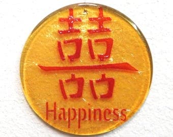 Happiness, fused glass ornament with Chinese character