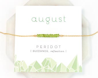 August Birthstone Necklace, Peridot Gemstone Bar Necklace Gold, Dainty Stone Necklace, Chakra Gift, Everyday Necklace, Gift for Sister, Boho