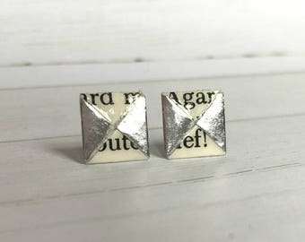 Literary Origami Silver Menko Post Earrings