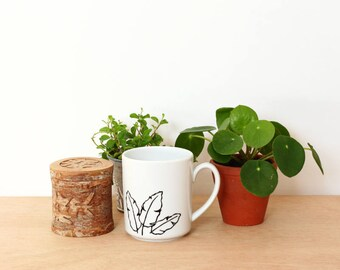 Musa mug - Banana leaves handpainted coffee cup
