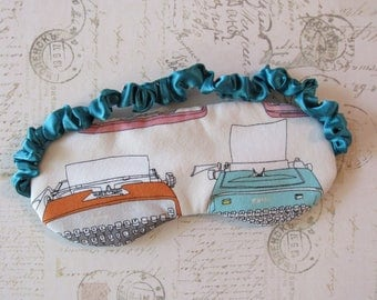 Typewriter Sleep Mask in Teal // Cotton & Satin Eye Mask