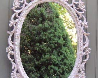 Vintage Large Pink Oval Mirror, Ornate Oval Wall Mirror, Bathroom Vanity Mirror, Girl's Room Mirror, Nursery Mirror, Shabby Chic Mirror