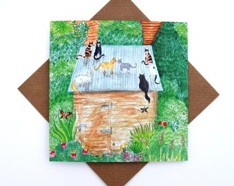 Cat Lover Greetings Card, Cat Card, Art Card, Artist Range, Cats on the Roof, All Occasions Card, Blank, No Message