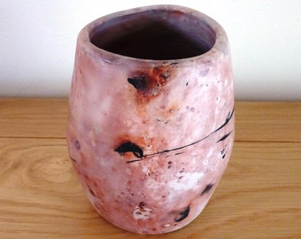 Ceramic vase, ceramic vessel, reactive saggar fired pot, raku pots, unique ceramics, thrown pottery, home decor, gift for her, Mom Mum, Aunt