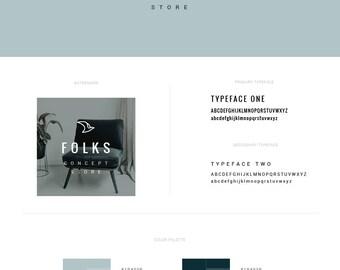 Premade Logo Set — Branding Kit — Interior Logo Design — Premade Branding Package — Small Business Branding — Hipster — Bird Logo // Folks