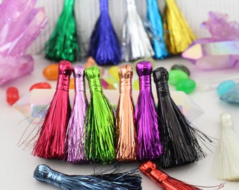 "NEW Tinsel Tassels, 2.5"" Metallic, Shiny Festive Holiday Decor, Sparkly Jewelry Making Supply, Choose from 14 colors: Red, Green, Purple"