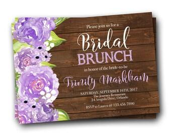Brunch Bridal Shower Invitation, Bridal Brunch Invitation Purple, Wildflower Invitation, Printable Bridal Brunch Shower Invitation