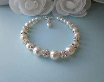 Bridal Bracelet Pearl, Rhinestone Bracelet, Swarovski Pearl Bracelet, White Pearl Bracelet, Wedding Bracelet, Rhinestone and Pearls, Sparkle