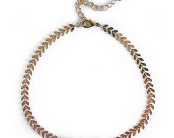 Gemstone Choker, Bar Choker, Rose Quartz Choker, Chevron Delicate Necklace, Modern Choker Necklace, Modern Choker Necklace, Gifts for her