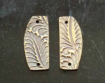 PMC Earring Charms - Handmade Bronze Earring Components - Textured Earring Charms - PMC Jewelry Supplies - Artisan Charms - Organic Charms