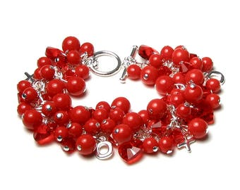 Red Swarovski Crystal Heart Glass Pearl Cluster XOXO Silver Charm Bracelet Romantic Valentine's Day Hugs and Kisses Jewelry Round Shiny Bead