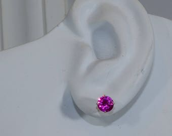 Bright Pink Sapphire Earrings.