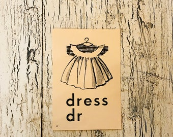 Vintage Alphabet Flash Card - Letter D for Dress - Picture Flash Card - Farmhouse Decor, Nursery Decor
