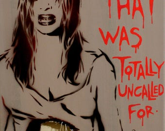 Death Becomes Her Painting 12x16 Zombie Art Movie Poster Pop Art Graffiti Art on Canvas Urban Art Original Art Fine Art Spray Paint Painting