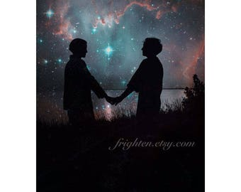 Romantic Wall Art Print, Stars and Planets, Silhouette of Couple, Valentine's Day, Collage Art Print